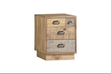 Grenier Reclaimed Pine Bedside Cabinet With Plinth