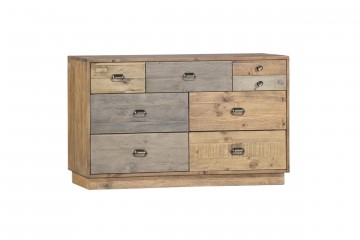 Grenier Reclaimed Pine 7 Drawer Wide Chest With Plinth